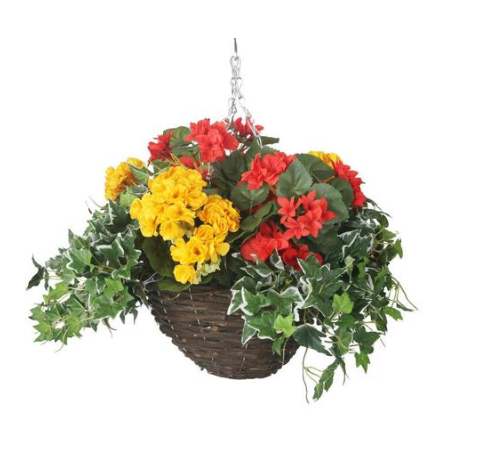 Artificial Red and Yellow Begonia Display