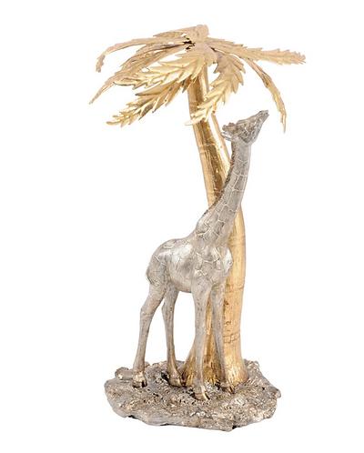 Giraffe and Palm Tree Sculpture