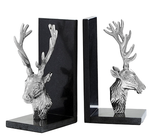 Set Of 2 Stag Bookends With Marble Base