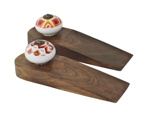 Set Of 2 Kasbah Design Wooden Doorstops