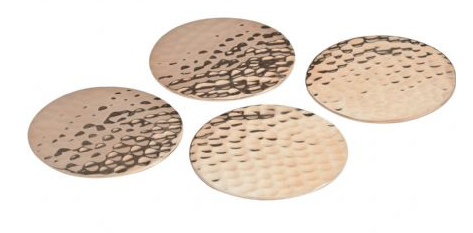 Copper Hammered set of 4 Coasters