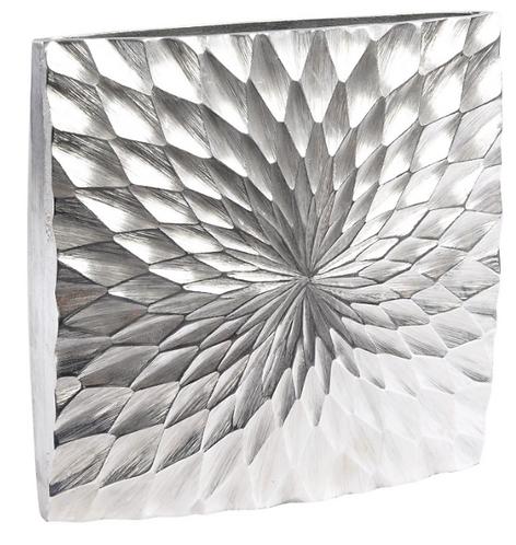 Square Starburst Silver Aluminium Vase