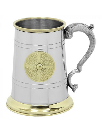 1 Pint Pewter and Brass Tankard