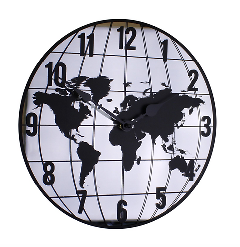 Mirrored Clock Featuring Map Of The World Design