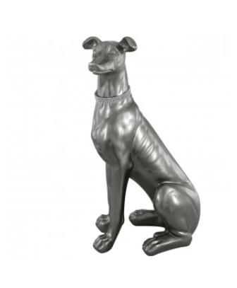 Large Sitting Grey Dog Decoration