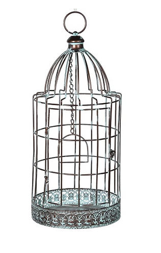 Distressed Green Hanging Bird Cage