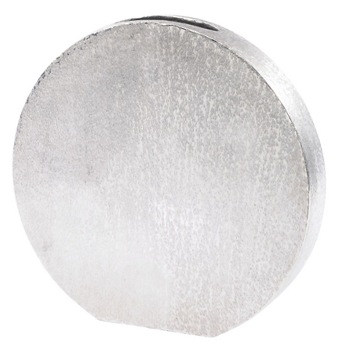 Brushed Silver Decorative Aluminium Disc Vase