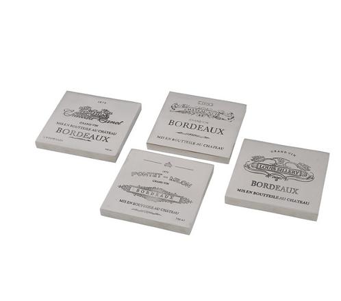 Set Of 4 Bordeaux Coasters Square Aluminium
