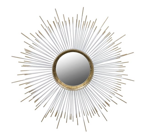 Gold Spiked Round Mirror