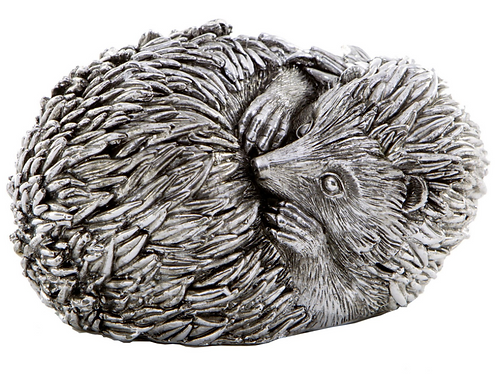 Silver Curled Hedgehog Sculpture