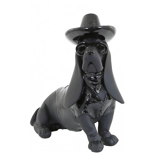 Cool Black Dog Wearing Hat And Sunglasses Figurine