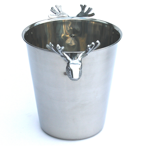 Stainless Steel Wine Cooler with Stag Decoration