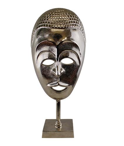 Silver Metal Tribal Mask Sculpture