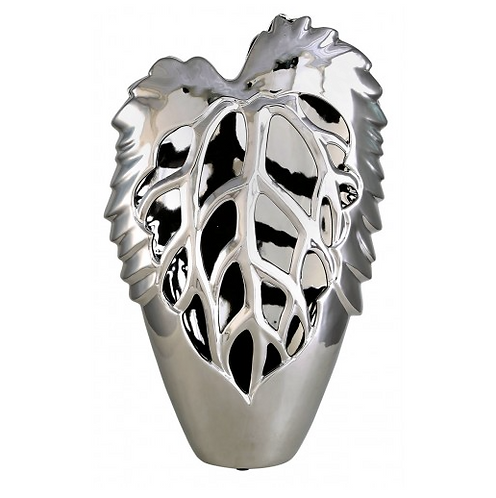 Medium Silver Leaf Vase
