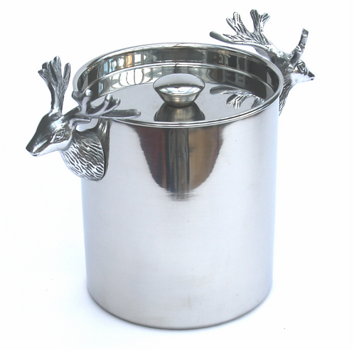 Stainless Steel Ice Bucket with Stag Decoration