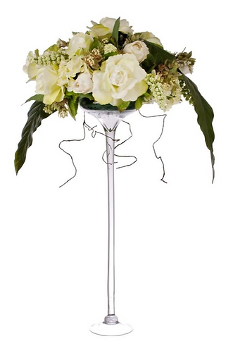 Artificial White and Green Rose Arrangement