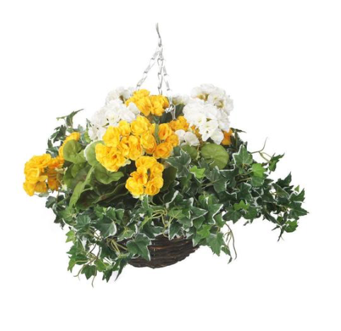 Artificial Yellow and White Geranium Display
