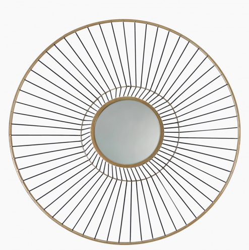 66cm Mirrored Gold Round Metal Wall Art