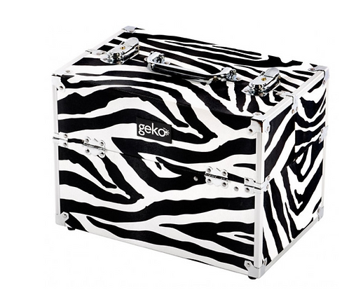 Vanity Case / Makeup Box Silver / Zebra