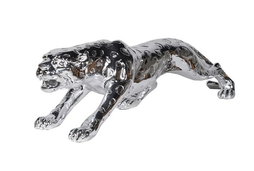 Large Silver Finish Leopard