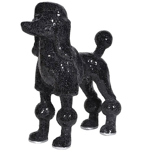 TimeLess Black Mosaic Glass Poodle