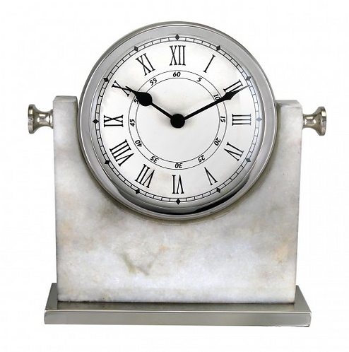 Large Marble And Nickel Table Clock