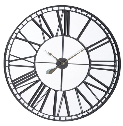 Oversized Skeleton Mirror Wall Clock