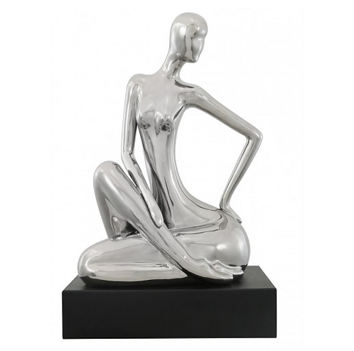 Silver Abstract Lady On Black Stand