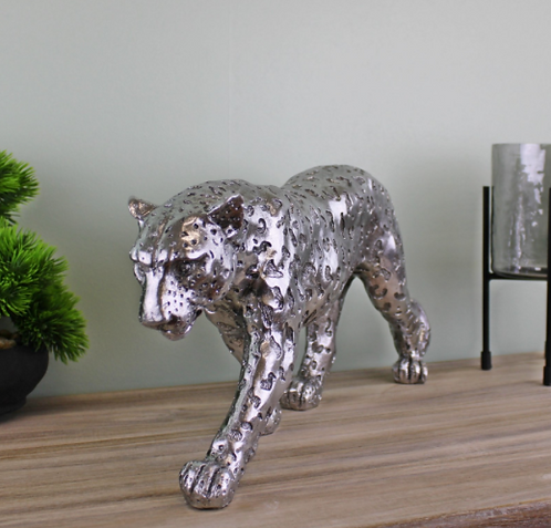 Silver Leopard Ornament Large
