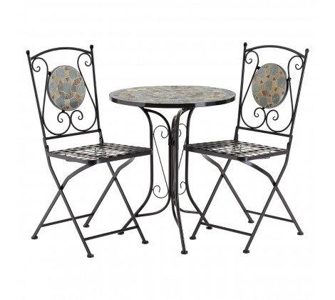 Amalfi Grey/Stone Mosaic Table Set