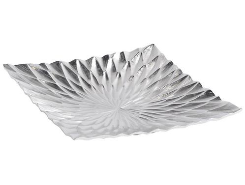 Square Starburst Silver Aluminium Platter