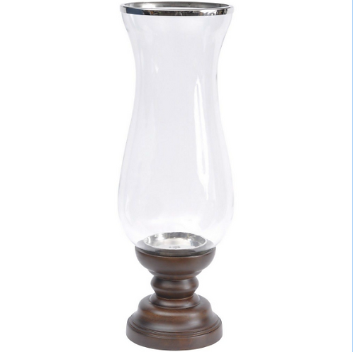 Payton Walnut Base Stemmed Hurricane Vase