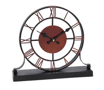 Black and Dark Red Skeleton Mantel Clock