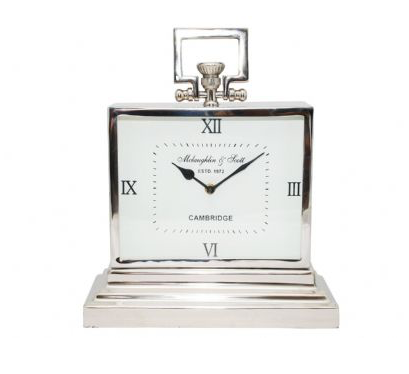 Latham Small Aluminium Rectangular Clock with Roman Numerals