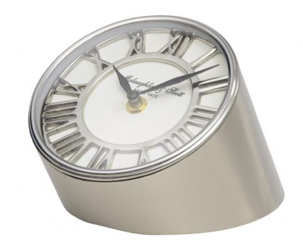 Satin Grey and Nickel Table Clock