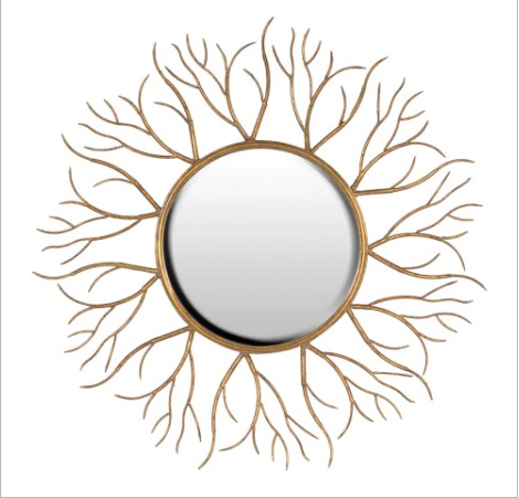 TimeLess Gold Twigs Round Mirror