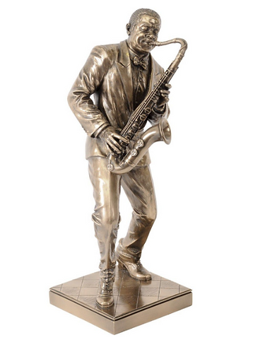 Bronze Finish Saxophonist Sculpture