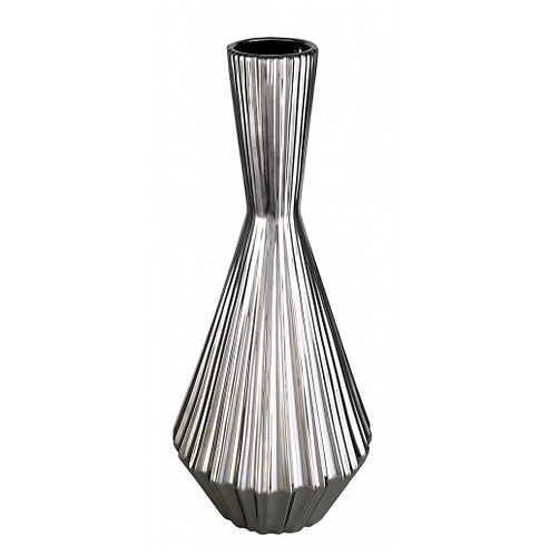 Large Silver Ribbed Vase
