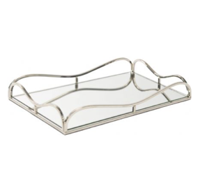 TimeLess Rectangular Rushford Nickel Plated Mirror Tray