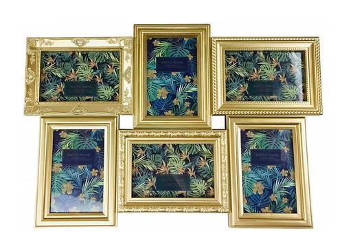 6 Multi Gold Photo Frames
