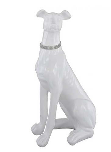 Large Sitting White Dog Decoration
