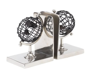 TimeLess Bowes Black and Silver Globe Bookends