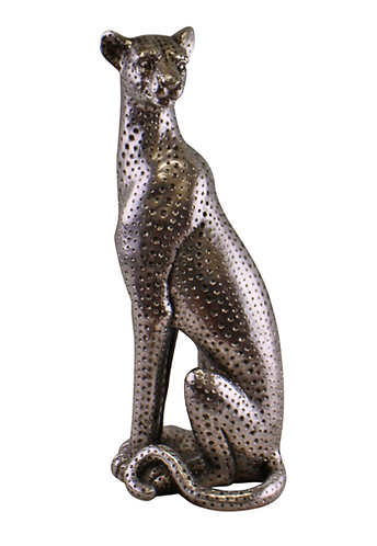 Large Silver Coloured Sitting Leopard Ornament