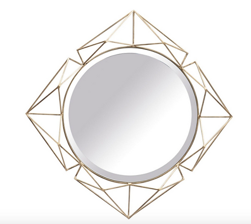Platonic Antique Gold Diamond Mirror