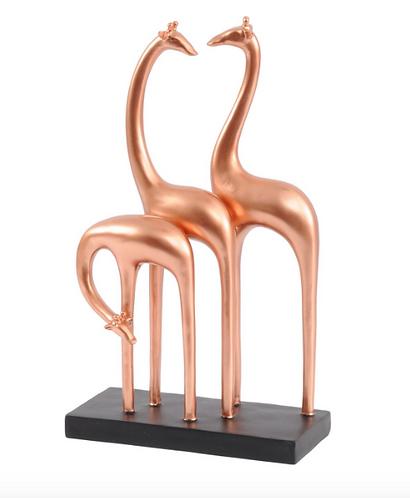 Abstract Giraffe Sculpture In Rose Gold