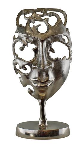 Silver Metal Face Sculpture Ornament