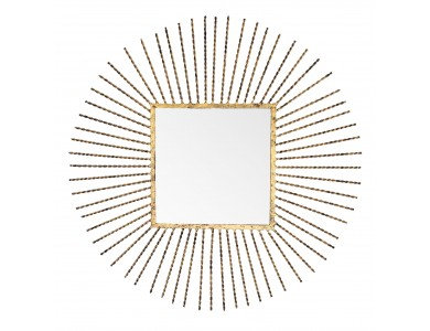 Gold Square Mirror in Round Frame