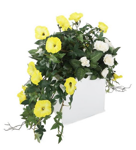 Artificial Yellow Morning Glory and White Rose Display