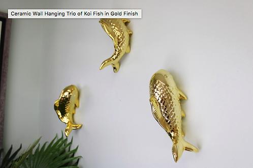 Ceramic Wall Hanging Trio of Koi Fish in Gold Finish