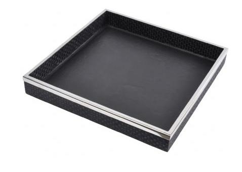 Benton Black Leather Square Tray